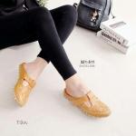 """รองเท้าคัทชู เปิดส้น เพื่อสุขภาพ เรียบเก๋น่ารัก ทรงสวม พื้นยางซิลิโคน นิ่มใส่ สบาย หนังลายฉลุ ด้านข้างเมจิกเทปปรับกระชับได้ สูง 1"""" สีขาว แทน"""