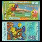 ธนบัตรตาฮิติ South Pacific States, 5 dollar, Tahiti (French Polynesia) 2015, Polymer, UNC