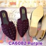 รองเท้าคัทชู เปิดส้น สวยเก๋ แต่งหมุดด้านหน้า ทรงสวยเก็บเท้า ส้นแต่งขอบทองหรูดูดี แมทสวย โดดเด่น ได้ทุกชุด (CA6082)