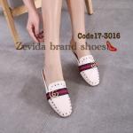 รองเท้าคัทชู เปิดส้น แบบสุดฮิต สไตล์กุชชี่ ปักหมุดแต่งอะไหล่ โลโก้ GG สวยหรูดูไฮ แมทเก๋ได้ทุกชุด สีดำ ครีม แทน (17-3016)