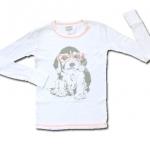 เสื้อ สีขาว-ส้ม ลายหมาใส่แว่น 10T