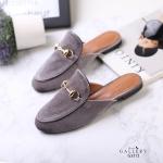 รองเท้าคัทชู เปิดส้น บุกำมะหยี่แต่งอะไหล่ทองสไตล์กุชชี่สวยเรียบหรู หนังนิ่ม ทรงสวย ใส่สบาย แมทสวยได้ทุกชุด (G3312)