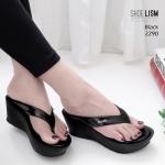 รองเท้าแฟชั่น ส้นเตารีด แบบหนีบ แต่งอะไหล่สวยเรียบหรู หนังนิ่ม พื้นนิ่ม ทรงสวย สูงประมาณ 3 นิ้ว ใส่สบาย แมทสวยได้ทุกชุด (2290)