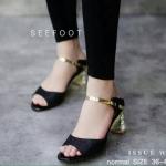 รองเท้าคัชชู ZARA WOMAN STYLE แบบสวม หรูหราด้วยหนังเกล็ดแวววาว สีดำ ส้นเคลือบทองฝังเพชร สูง 2 นิ้ว กำลังดี ทรงเก็บหน้าเท้าดูเท้าเรียว สวยหรูมีสไตล์
