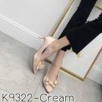 รองเท้าคัทชู ส้นเตี้ย แต่งโบว์ด้านหน้าสวยหวาน หนังนิ่ม ส้นสูงประมาณ 2.5 นิ้ว ใส่สบาย แมทสวยได้ทุกชุด (K9322)