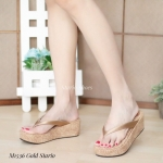 รองเท้าแฟชั่น ส้นมัฟฟิน สวยเก๋ แบบหนีบ ส้นแต่งลายกุหลาบ ใส่สบาย งานสวย แมทเก๋ ได้ทุกวัน (M1536)