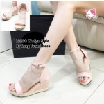 รองเท้าแฟชั่น Wedge Style แบบสวมรัดส้น สายรัดข้อเท้าแบบตะขอ เกี่ยวสวมง่าย แต่งเชือกทัก ขอบส้นสวยๆ สไตล์วินเทจ สูงหน้า 2 ซม. ส้นสูง 9 ซม. สวยน่ารัก ใส่สบาย