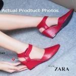 รองเท้าคัทชู ส้นเตารีด ZARA Wedged Anlke Style ทรงหัวแหลม ที่เสริมความ กระชับด้วยสายรัดข้อแบบเมจิกเทปเส้นใหญ่ ส้นแบบเตารีดหุ้มทั้งตัวด้วยหนัง สูง ประมาณ 3 นิ้ว แมทสวยได้ทุกชุด สีน้ำเงิน ทอง เทา แดง ขาว (FT193)