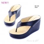 รองเท้าแฟชั่น ส้นเตารีด แบบหนีบลำลอง งานหนังพียูเนื้อนิ่ม เรียบหรูดูดีจ้า ส้นเตารีดสูง 3.5 นิ้ว หนังนิ่ม ใส่สบาย แมทสวยได้ทุกชุด (981-109)
