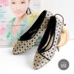 รองเท้าคัทชู ส้นแบน สวยเก๋ หนังนิ่มแต่งลายตารางสไตล์อิซเซ่สวยดูดี พื้นบุนิ่ม ใส่สบาย แมทสวยได้ทุกชุด (L691)