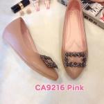 รองเท้าคัทชู ส้นเตารีด แต่งอะไหล่เพชรสวยหรู หนังนิ่ม ใส่สบาย ทรงสวย แมทสวยได้ทุกชุด (CA9216)