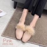 รองเท้าคััทชู ส้นแบน แต่งเฟอร์ฟูนิ่มสวยเก๋ หนังนิ่ม ทรงสวย แมทสวยได้ทุกชุด (2015-162)