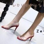 รองเท้าแฟชั่น ส้นสูง คาดหน้าพลาสติกใสนิ่ม สวยเก๋ ทรงสวยเพรียว ส้นสูง 3.5 นิ้ว แมทสวยได้ทุกชุด (17-5116)