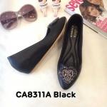 รองเท้าคัทชู ส้นเตารีด แต่งอะไหล่สวยหรู หนังนิ่ม ส้นสูงประมาณ 2 นิ้ว ใส่สบาย แมทสวยได้ทุกชุด (CA8311A)