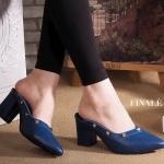 รองเท้าคัทชู เปิดส้น สวยหรู แต่งหมุดทอง ทรงสวยเก็บหน้าเท้า หนังอย่างดี ส้นตัดสูง ประมาณ 2.5 นิ้ว เดินง่าย ใส่สบาย แมทสวยได้ทุกชุด