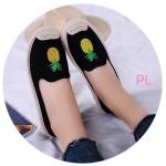 รองเท้าคัทชู ทรง slip on ปักลายสัปปะรด แต่งเชือกถักที่ส้นสไตล์วินเทน สวยเก๋ห์ ทรงสวย ใส่สบาย แมทสวยเท่ห์ได้ทุกชุด