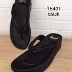 รองเท้าแตะแฟชั่น เพื่อสุขภาพ แบบหนีบแต่งเพชรสวยหรู พื้นคอมฟอตนิ่มสไตล์ฟิตฟลอบ ใส่สบาย แมทสวยได้ทุกชุด (TE401)