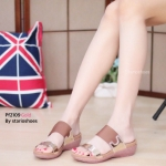 รองเท้าแฟชั่น ส้นเตารีด สไตล์ลำลอง แบบสวม แต่งหนังเมทัลลิค เรียบเก๋ พื้นนิ่ม ใส่สบาย แมทเก๋ได้ทุกชุด (pf2109)
