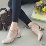 รองเท้าคัทชู ส้นเตี้ย แบบรัดส้น สไตล์ Chanel หน้าวี วัสดุพียู ดีเทลสายไขว้สุด เซ็กซี่แบบตะข้อเกี่ยว งานสีพื้นสไตล์คลาสสิค แมทง่าย ใส่กระชับ เรียบหรูดู แพง งานสวย แมทได้ทุกชุด สีทอง เทา ครีม แทน ดำ สูง 2 นิ้ว (PR-01)