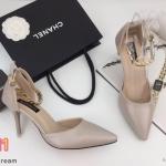 รองเท้าคัทชู ส้นสูง รัดข้อ สายรัดแต่งอะไหล่ทองเรียบหรู หนังนิ่ม ใส่สบาย ทรงสวย สูงประมาณ 3 นิ้ว แมทสวยได้ทุกชุด (K9152)