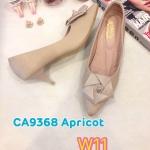 รองเท้าคัทชู ส้นเตี้ย แต่งดอกไม้สวยหวาน หนังนิ่ม ส้นสูงประมาณ 2 นิ้ว ใส่สบาย แมทสวยได้ทุกชุด (CA9368)