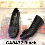 รองเท้าคัทชู ส้นเตี้ย สวยหรู หนังนิ่ม เย็บนวมลายเก๋ แต่งอะไหล่ด้านหน้าดูดี พื้นนิ่ม ใส่สบาย แมทสวยได้ทุกชุด (CA8437)
