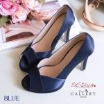 รองเท้าคัชชู ส้นสูงเปิดนิ้ว สวยเรียบหรูด้วยหนังบุผ้าซาติน Classic ดีไซน์ไขว้หน้า ความสูง 4 นิ้ว แมทง่ายกับทุกชุดใส่ออกงานสวยหรูดูดี (G5-138)