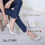 รองเท้าคัทชู ส้นสูง ทรงหัวแหลม หนังเคลือบเงาประกายกลิสเตอร์วิ่ง หนังนิ่ม ทรงสวย ส้นสูงประมาณ 4 นิ้ว ใส่สบาย แมทสวยได้ทุกชุด (17-5184)