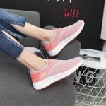 รองเท้าผ้าใบแฟชั่น แต่งผ้าตาข่ายสวยเก๋ แบบไร้เชือกใส่ง่าย วัสดุอย่างดี ใส่เที่ยว ออกกำลังกาย ใส่สบาย แมทสวยได้ทุกชุด (6767)
