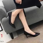 รองเท้าคัทชู ส้นสูง ทรงหัวแหลม แต่ง V ด้านหน้า ทรงสวยเรียบหรู หนังนิ่ม ส้นสูงประมาณ 3.5 นิ้ว ใส่สบาย แมทสวยได้ทุกชุด (K9107)