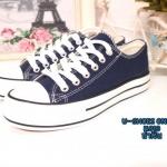 รองเท้าผ้าใบ สไตล์ converse งานสวย เสริมพื้นหนา แนววัยรุ่น ผ้าเนื้อดี สีสวย ใส่สบาย แมทเท่ห์ใส่ได้ทุกแนว ดำ น้ำเงิน (K010)