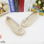 รองเท้าคัทชู ส้นแบน ทรงหัวมน หน้ากว้างไม่บีบเท้า แต่งดอกไม้สวยเก๋ พื้นนิ่ม หนังนิ่ม ใส่สบาย แมทสวยได้ทุกชุด (N059)