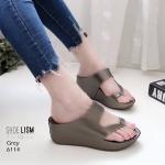 รองเท้าแฟชั่น ส้นเตารีด แบบสวม แต่งคาดเฉียงสวยเรียบเก๋ หนังนิ่ม พื้นนิ่ม ทรงสวย ส้นสูง 2.5 นิ้ว ใส่สบาย แมทสวยได้ทุกชุด (6114)