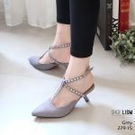 รองเท้าคัทชู ส้นเตี้ย รัดส้น แต่งสายไขว้ข้อเท้าประดับคริสตัลสวยหรู สไตล์ ZARA หนังนิ่ม งานสวย ส้นดีไซน์เก๋ไม่เหมือนใคร ส้น 1 นิ้ว ใส่สบาย แมทสวยได้ทุกชุด (279-15)
