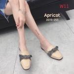 รองเท้าคัทชู เปิดส้น แต่งโบว์ลายสก็อตสวยเก๋น่ารัก หนังนิ่ม ทรงสวย ใส่สบาย แมทสวยได้ทุกชุด (2015-253)