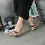 รองเท้าแฟชั่น ส้นสูง แบบสวม แต่งอะไหล่ทองด้านหน้าสวยเรียบหรู ทรงสวย หนังนิ่ม ส้นสูงประมาณ 4 นิ้ว ใส่สบาย แมทสวยได้ทุกชุด (G5-149)