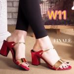 รองเท้าแฟชั่น ส้นสูง แบบสวม แต่งอะไหล่ทองคาดหน้าสวยหรู ส้นตัด สูงประมาณ 2.5 นิ้ว ใส่สบาย แมทสวยได้ทุกชุด