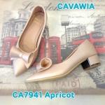 รองเท้าคัทชู ส้นเตี้ย หนัง PU นิ่มอย่างดี แต่งโบว์ม้วนด้านหน้าสวยเก๋ ส้นประมาณ 1 นิ้ว ใส่สบาย แมทสวยได้ทุกชุด (CA7941)