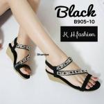 รองเท้าแฟชั่น ส้นเตารีด สวยหรู แบบสวม รัดส้น แต่งอะไหล่หรูด้านหน้าดูดี พื้นบุนุ่ม รัดส้น ยางยืดนิ่มใส่สบาย แมทสวยได้ทุกชุด (B905-10)
