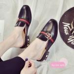 รองเท้าคัทชู เปิดส้น แต่งอะไหล่สไตล์กุชชี่ ส้นแต่งมุกและหมุดสวยหรู ทรงสวย เก็บเท้าเรียว ใส่สบาย แมทสวยได้ทุกชุด