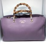 [SOLDOUT]Gucci Bamboo Shoppe Leather tote สีม่วง อุปกรณ์ครบเหมือนออกช้อป ของใหม่ค่ะ