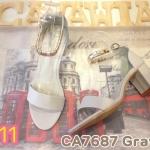 รองเท้าแฟชั่น ส้นสูง รัดข้อ สวยเก๋ สายแต่งอะไหล่ทองสวยดูดี รัดส้นตะขอเกี่ยว ใส่ง่าย ส้นตัด สูงประมาณ 2.5 นิ้ว ใส่สวยดูดี แมทได้ทุกชุด (CA7687)