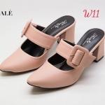 รองเท้าคัทชู เปิดส้น ส้นสูง แต่งเข้มขัดสวยเก๋ หนังนิ่ม ทรงสวย ส้นสูงประมาณ 3 นิ้ว ใส่สบาย แมทสวยได้ทุกชุด