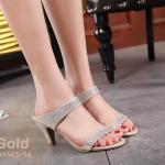 รองเท้าแฟชั่น แบบสวม ส้นสูง แต่งคลิสตัลเพชรสวยหรู หนังนิ่ม ส้นสูงประมาณ 3 นิ้ว ใส่สบาย แมทสวยได้ทุกชุด (BA563-34)