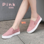 รองเท้าผ้าใบ ทรง slip on เรียบเก๋ ผ้ายีนส์สีสวยแซ่บ แต่งขอบลุ้ยเท่ห์ พื้นหนาสไตล์เกาหลี ใส่สบาย แมทสวยเก๋ได้ทุกชุด (6355)
