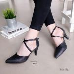 """รองเท้าคัทชู ส้นสูง สวยหรู หนังกริสเตอร์วิ้งๆ สายไขว้ สีคลาสสิก หนังนิ่ม ไม่บาดเท้า หน้าเรียวเก็บหน้าเท้า ใส่ออกงานได้ สูง 3"""" สีดำ ทอง ชมพู"""