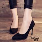 รองเท้าคัทชู ส้นสูง ทรงหัวแหลม สวยเรียบหรู วัสดุผ้าสักหลาด น้ำหนักเบา ใส่แล้วเท้าดูเรียว สูงเพรียว match ในลุค casual หรือ จัดลุคเรียบร้อยด้วย กระโปรง ก็เวิร์คสุดๆ หรู เก๋ เปรียว ในคู่เดียว สูง 4 นิ้ว สีดำ น้ำเงิน แดง (983)