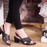 รองเท้าแฟชั่น ส้นสูง แบบสวมหน้าไขว์เก็บหน้าเท้า หนัง PU นิ่มอย่างดี ทรง สวย รัดส้นแต่งเข็มขัดเก๋ๆ ส้นตัด สูงประมาณ 2 นิ้ว ใส่สบาย แมทสวยได้ทุกชุด สีขาว ดำ น้ำตาล แดง เทา