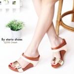รองเท้าแฟชั่น ส้นเตารีด แบบสวม ตัดสีทูโทนสวยเก๋ พื้นนิ่ม ใส่สบาย แมทสวย ได้ทุกชุด (Sj330)