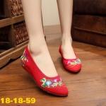 รองเท้าผ้าปักลายจีน ทรงหัวแหลม ปักลายช่อดอกไม้สวยงาม ส้นสูง 1 นิ้ว พื้นด้านในซับ ฟองน้ำ ด้านนอกเป็นผ้าทอแน่นเนื้อดี ทรงน่ารักใส่สบาย แมทสวยได้ไม่เหมือนใคร